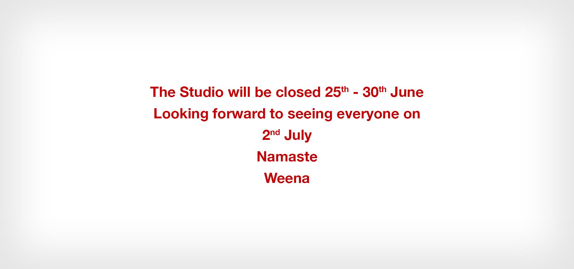 Weena Yogasana - The Studio will be closed